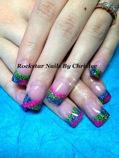 Rockstar acrylic nails by Christee w/ neon glitter design