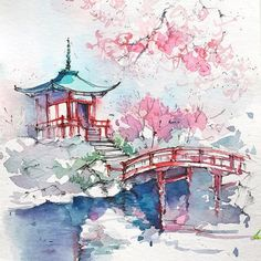 Idea By Kelli Mcnichols Art On Sketching Ideas Landscapes Beautiful Landscape Mixed Media Must Bear In Mind Possibilities Tokyo Japan Yokota Air Base Watercolor Print Military Etsy Painting A Japanese…Read more of Japan Watercolor Painting Japan Watercolor, Watercolor Sketch, Watercolor Landscape, Watercolor Paintings, Painting Abstract, Architecture Drawing Sketchbooks, Watercolor Architecture, Architecture Art, Sakura Painting
