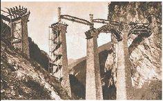 """Der Bau des Landwasserviadukts. Bild aus """"Ingenieure bauen die Schweiz. Technikgeschichte aus erster Hand"""", erschienen im Verlag NZZ Libro. Bild(c)RhB"""