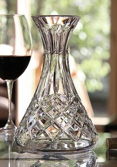 Waterford Crystal, Lismore Crystal Wine Carafe - From the favorite Lismore collection, this Crystal Carafe is fluid and graceful. Softly flaring from base to rim, the elegant diamond and wedge cuts merge seamlessly on a Crystal Carafe shape. Waterford Lismore, Waterford Crystal, Crystal Glassware, Crystal Vase, Cut Glass, Clear Glass, Glass Art, Wine Carafe, Crystal Shop