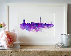 Johannesburg Skyline Watercolor painting Wall art Aquarelle