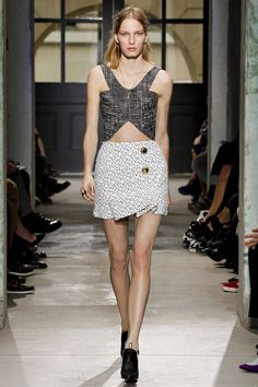Look 27 Balenciaga Spring 2013 PFW #i hate the buttons on this skirt but the shaping at the bottom is really cool.