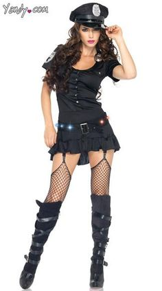 The four-piece, Sergeant Sexy costume includes a garter dress with a badge, LED light-up belt, handcuffs and matching hat