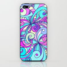 Drawing floral abstract background iPhone & iPod Skin by MedusArt - $15.00