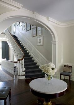 Formal Entry with Venetian Plaster Walls Foyer TraditionalNeoclassical Transitional by SB Long Interiors Georgian Interiors, Georgian Homes, Grand Staircase, Staircase Design, Venetian Plaster Walls, Plafond Design, Entry Foyer, Entry Stairs, Traditional House