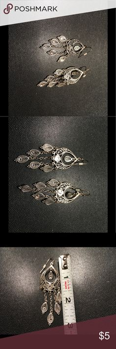 "Sparkling Silver tone Chandelier earrings Silver chandelier earrings are approx 3"" long. Jewelry Earrings"