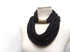 Loop scarf, Infinity scarf, Scarf necklace - Knitted scarlette, neckwarmer - Black and Gold - Handmade - ENDLESS LOOP