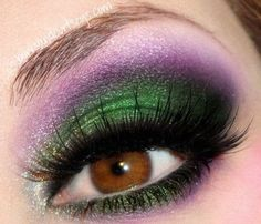 Emerald green and violet make up