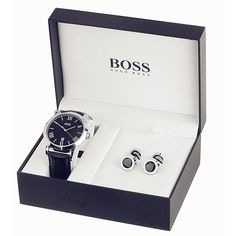 Hugo Boss boxed set containing a stainless steel strap watch and Hugo Boss cufflinks. This gift set will delight any man and make him a fully co-ordinated leader of stylish fashion. stunning and such a keepsake for my boyfriend of 9 years x Gift Box For Men, Gifts For Boys, Gifts For Him, Crystal Box, Wedding Gifts For Groom, Cosmetic Box, Cufflink Set, Watch Box, Boyfriend Gifts