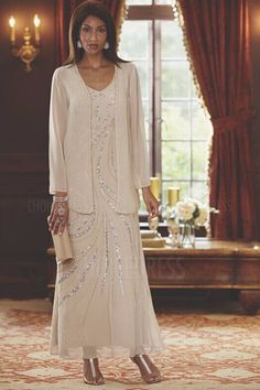 A-Line/Princess V-neck Ankle-length Mother of the Bride Dress With Sequined
