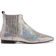 Joseph Glittered leather Chelsea boots ($560) ❤ liked on Polyvore featuring shoes, boots, ankle booties, leather ankle booties, leather boots, genuine leather boots, slip on boots and elastic flats