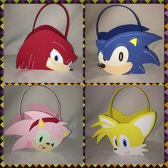 """Sonic , Amy,Tails Knuckles. 5"""" in height and 6"""" in width, and the basket part to put your favors measures approx. 4"""" x 4"""" x 3"""""""