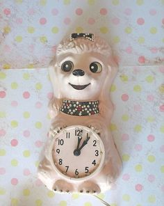 If you ever see this in an antique store, contact me immediately. Tea Cup Poodle, Pink Poodle, Vintage Dog, Retro Vintage, Vintage Clocks, French Poodles, Standard Poodles, Pink Laundry Rooms, Antique Stores