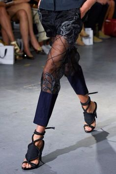 lace up sheer luxury designer pants | runway style