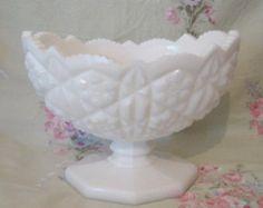 Mint Antique Vintage 1930's Oval Milk Glass Pedestal Compote Comport Bowl Ornate Diamond Quilted Pattern Wedding - Edit Listing - Etsy