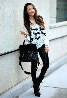 Faux leather pants, mid calf boots and a relaxed sweater! Outfit inspiration via Hapa Time.