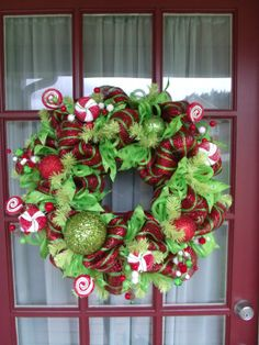 Lime Green and Red  Deco Mesh Christmas Door by CrazyboutDeco, $99.00