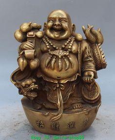 "13"" Chinese Bronze Wealth YuanbAO Happy Laugh Maitreya Buddha Dragon Statue in Antiques, Asian Antiques, Tibet | eBay"