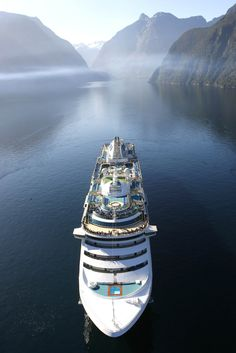 Cruise ship Sun Princess visiting Milford Sound NZ