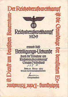 Teilnahmeurkunde am Reichsberufswettkampf 1939 (Gruppe Nährstand)
