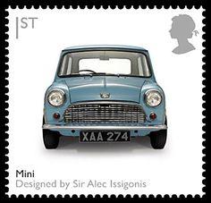 Royal Mail - British Design Classics Stamp, The Mini, 2009 Royal Mail Stamps, Uk Stamps, Mini Cooper S, Classic Mini, Classic Cars, Classic Auto, Classic Style, Minis, Postage Stamp Art
