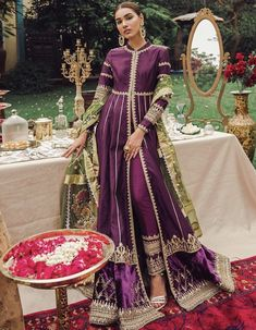 Love Pakistani Gharara And Anarkalis? Here's What They Cost Gorgeous eggplant purple gold Pakistani Pakistani Wedding Outfits, Pakistani Wedding Dresses, Pakistani Dress Design, Bridal Outfits, Pakistani Gharara, Girly Outfits, Shadi Dresses, Indian Dresses, Indian Outfits