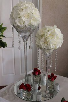 Wedding Centerpiece Very nice table centerpieces for head table Wedding Table, Diy Wedding, Wedding Flowers, Wedding Ideas, Wedding Things, Deco Floral, Floral Design, Wedding Decorations, Table Decorations