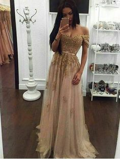 Long Custom prom dress, Champagne prom dress, Gold sequin prom dress, Off the shoulder prom dress, A-line prom dress, Sexy prom dress, 2017 prom gown, Evening dress. PD01128