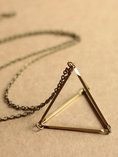3D Brass Triangle Necklace