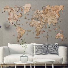 3D Multilayered World Map Wall Décor 17 Stories Finish: Terra, Size: 90cm H x 150cm W x 1cm D