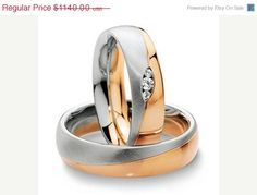 Now On Sale Rose Gold Wedding Sets With White by FirstClassJewelry