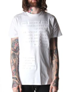 Blood Brother Letter Men s Embossed Print T-Shirt White 2faf41f90c9