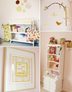 so many great pieces here... I love the homemade mobile {going to give that a try!} and the yellow accents.