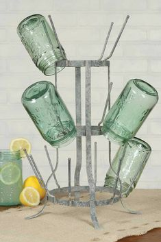 "Farmhouse kitchen metal drying rack/ cup stand. Would be great to display a collection on the counter or coffee bar. Measures 11""wdeX19""tall. #farmhousekitchen #ad #etsy"