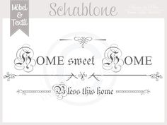 Wandschablonen - Vintage Schablone * HOME 2 * French Shabby Look - ein Designerstück von basket-and-pillow bei DaWanda
