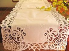 16x72 Ivory Beige Battenburg Lace Fl Table Runner Cloth Dresser Piano Cover