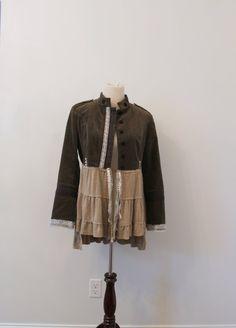 Military Style Jacket, Boho, Shabby Cottage Chic,Fringed Blazer,Altered Couture, Velvet Style Blazer, Eco Earth Friendly Upcycled Clothing