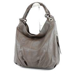 modamoda de - ital. Handtasche Damentasche Schultertasche Ledertasche Tasche Nappaleder Z18, Präzise Farbe:Graubraun - http://herrentaschenkaufen.de/modamoda-de-made-in-italy/graubraun-modamoda-de-ital-handtasche-tasche-z18