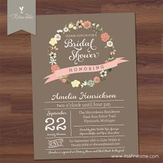 Bridal Shower Invitation, Baby Shower - Floral Wreath V2 / Poster Style - coffee, taupe, tan, brown - flowers, script, whimsical (Printable)...