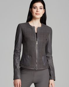 Armani Collezioni Jacket - Twill Front Leather   Bloomingdale's $1,785.00