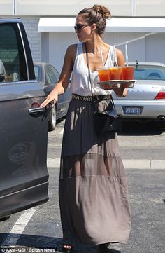 Jessica Alba. Awesome belt, adds a bit of rock to her outfit.