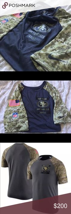 "New San Francisco 49ers salute to service shirt Show your patriotism on your sleeve this football season with the Nike® Salute to Service 2016 Performance T-Shirt. Size small have tags  size L don't  they're new    Tagless collar  Very Thin  Screen-Printed, Military-Inspired Graphics  Team logo, wordmark and STS patch screen-printed on the chest   These shirts have the NFL team logo on the chest of the shirt as well as the words ""Salute to Service"" right above the logo! They also have the…"