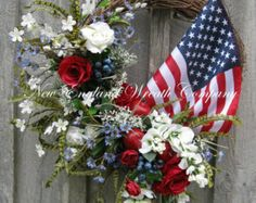 Patriotic Wreath, Americana Wreath, Fourth of July Decor, Memorial Day, Veteran's Day, Summer Floral, Designer,  Flag Wreath