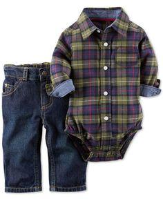 nice Carter's Baby Boys' 2-Piece Plaid Bodysuit & Denim Pants Set...