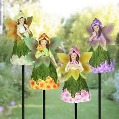 Exhart 9 inch Fairy Stakes with Floral Skirts - Set of 4,, Outdoor Décor
