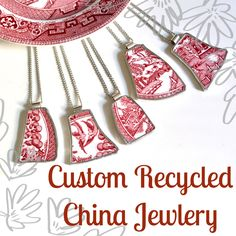 Custom Recycled China Necklace from YOUR Sentimental Plate 3QTY by TheBrokenPlate on Etsy https://www.etsy.com/listing/93197689/custom-recycled-china-necklace-from-your