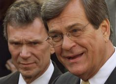 The Senate leaders in December 2001: Daschle, left, was majority leader and Lott was minority leader. Here they speak to reporters after meeting with President George W. Bush.