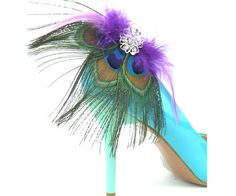 Peacock Feather Shoe Clips, Peacock Wedding Shoe Clips, Bridal Shoe Clips