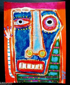 """A 6x8 Acrylic/Collage portrait painting. He is a little crazy, but there's just something cute about him:  """"BELFRY""""....need some color in your life? Please check out my originals!"""