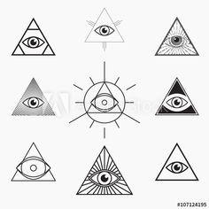 All seeing eye symbol, vector set - Evil eye Tattoo Symbol Tattoos, Dreieckiges Tattoos, Neue Tattoos, Bild Tattoos, Tatoos, Finger Tattoos, Magic Symbols, Symbols And Meanings, Third Eye